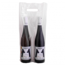 Plastic bag limpid for 2 bottles