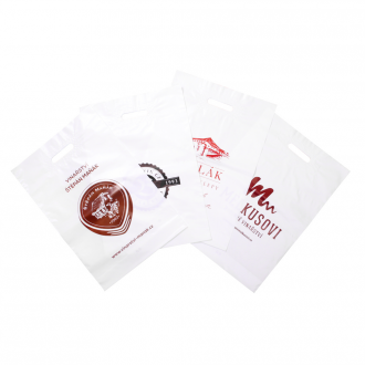 Set of plastic bags with print
