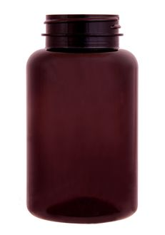 Plastic bottle with wide neck 250 ml brown, thread GL44
